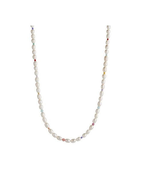 Stine A White pearls and candy stones necklace