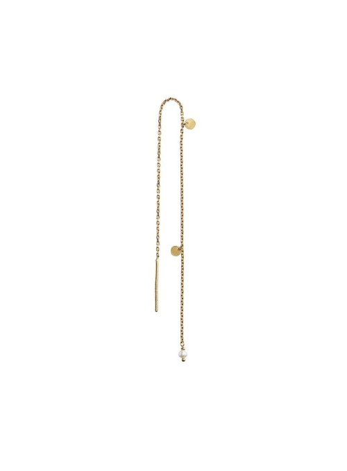 Stine A dangling petit coin and stone earring gold - white pearl