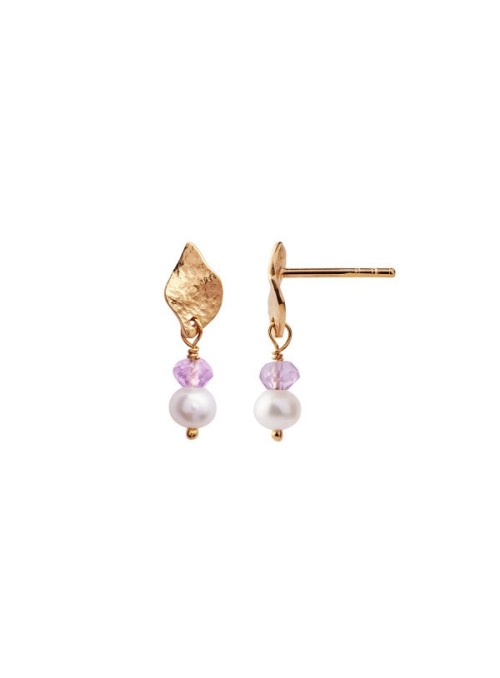 Stine A Ile de l'amour with pearl and lighr amethyst earring gold