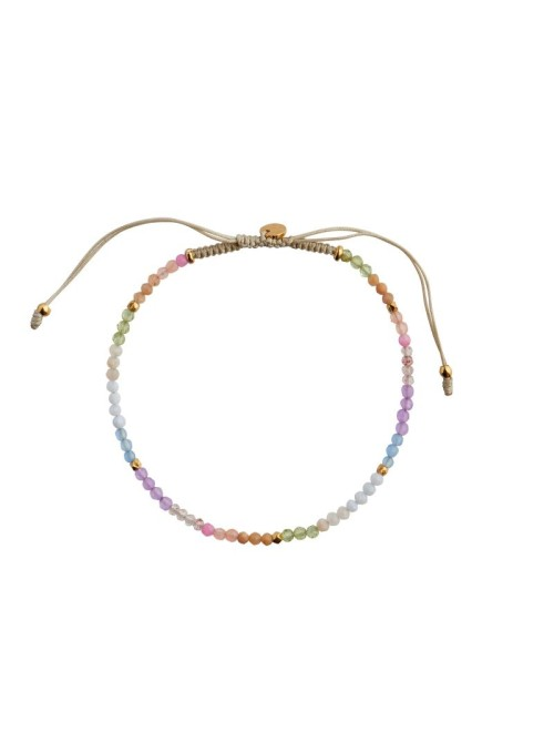 Stine A Soft rainbow mix with sandy grey ribbon bracelet