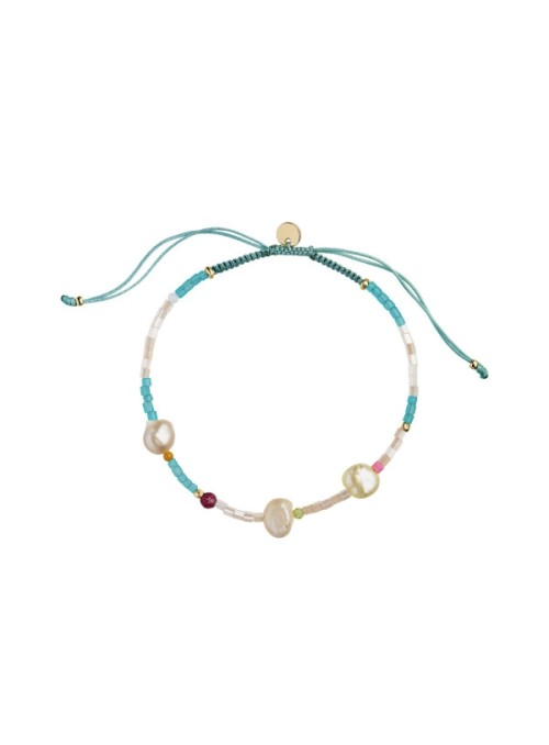 Stine A Deep sea bracelet - oceanblue & soft nude stones and oceanblue ribbon