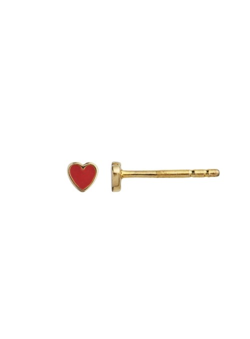Stine A Petit love heart red coral enamel gold