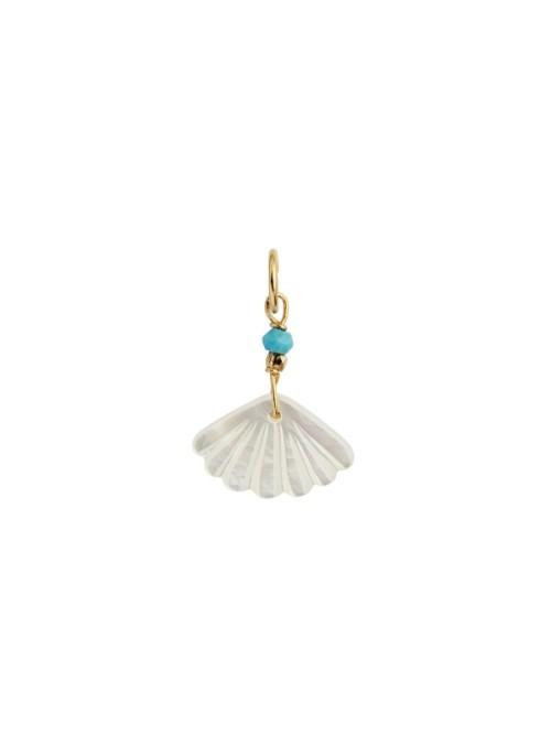 Stine A White seashell pendant gold/turquoise