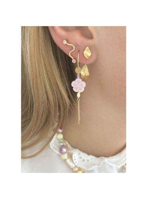 Stine A Pink cherry blossom earring gold with chains