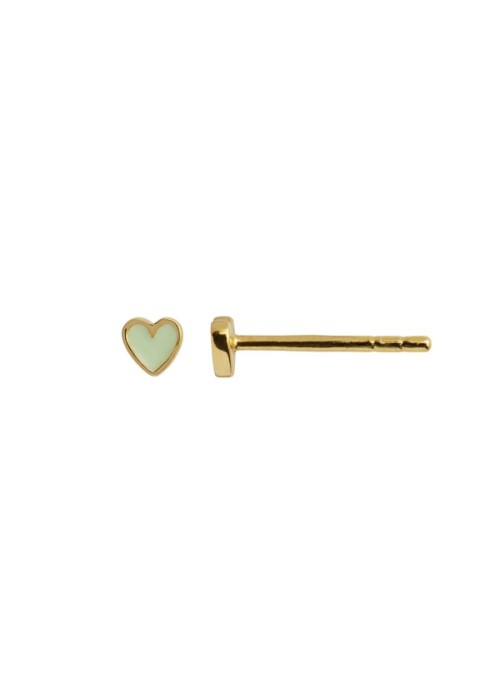 Stine A Petit love heart mint green enamel gold