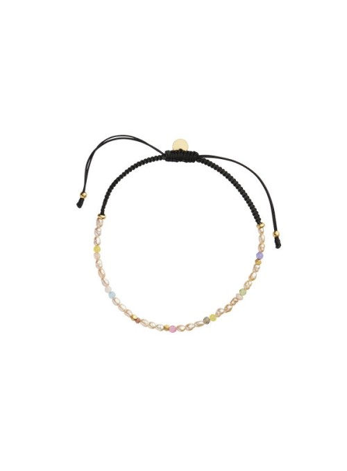 Stine A Confetti pearl bracelet with beige and pastel mix black ribbon