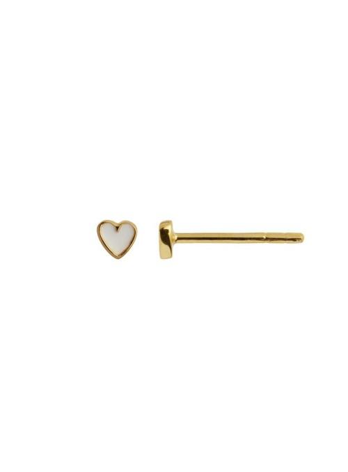 Stine A Petit Love Heart White Enamel Gold