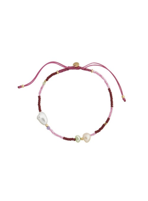 Stine A Deep Sea Bracelet - Bordeaux & Pink Stones and Cherry Pink ribbon