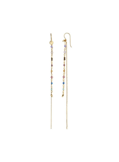 Stine A Petit Gemstones with Long Chain Earring Gold - Berry Mix