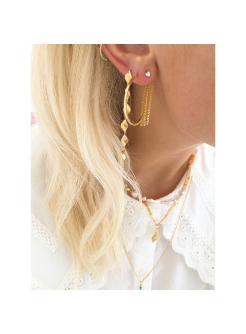 Stine A Six dangling Ile d'lamour long earring gold