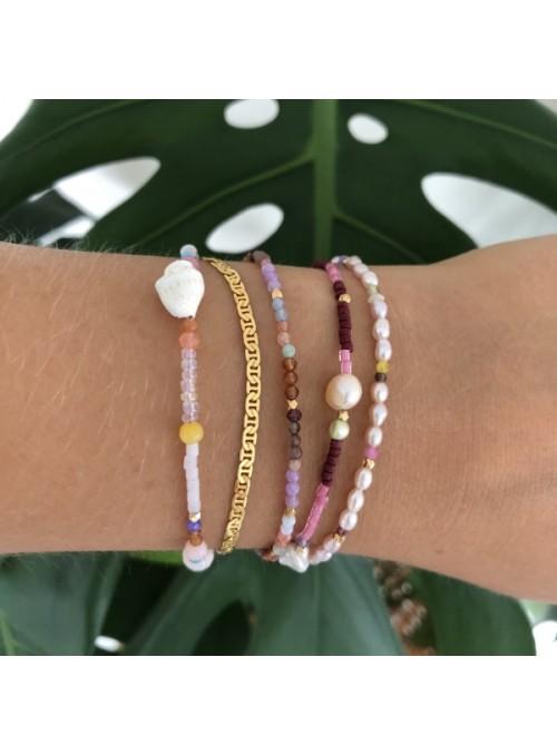 Stine A Deep Sea Bracelet - Bordeaux & Pink Stones and Cherry Pink ribbon