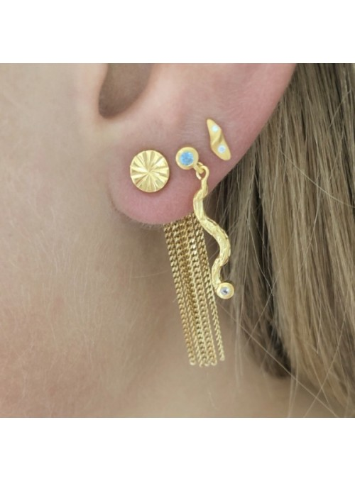 Stine A Tres petit velvet earring gold with stones