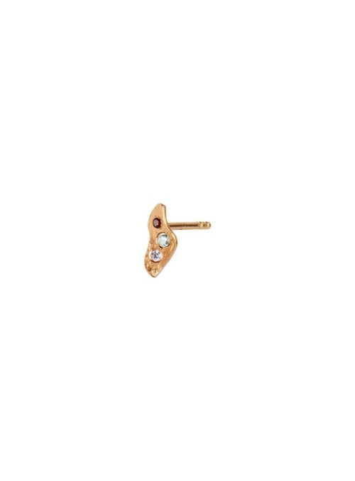 Stine A Tres Petit Ile De L'Amour Earring Gold with Burgundy, Iceblue and Light Purple