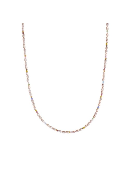 Stine A Confetti pearl necklace w/ beige and pastel mix gold