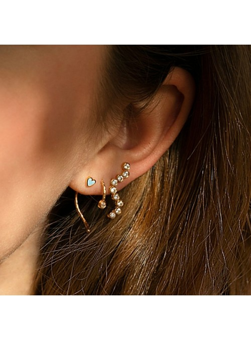 Stine A Wavy One Dot Open Creol Gold with Stone - white