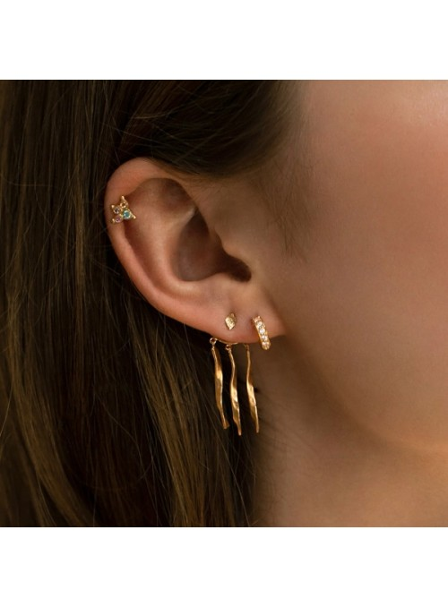Stine A Tres petit creol with white stones earring gold