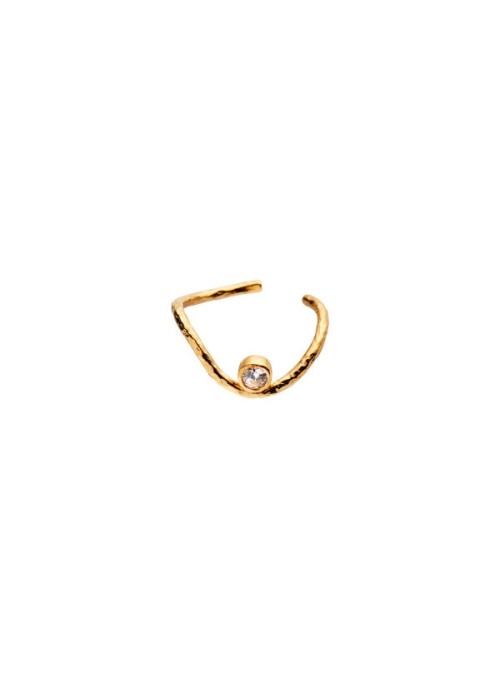 Stine A Wavy ear cuff gold with stone