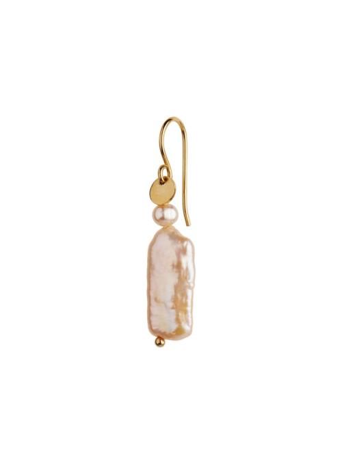 Stine A Long baroque pearl earring peach sorbet gold