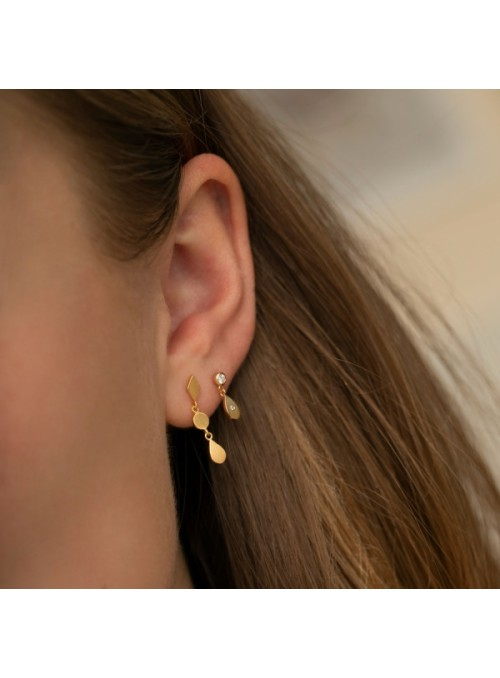 Stine A Big dot with sparkling teardrop earring gold