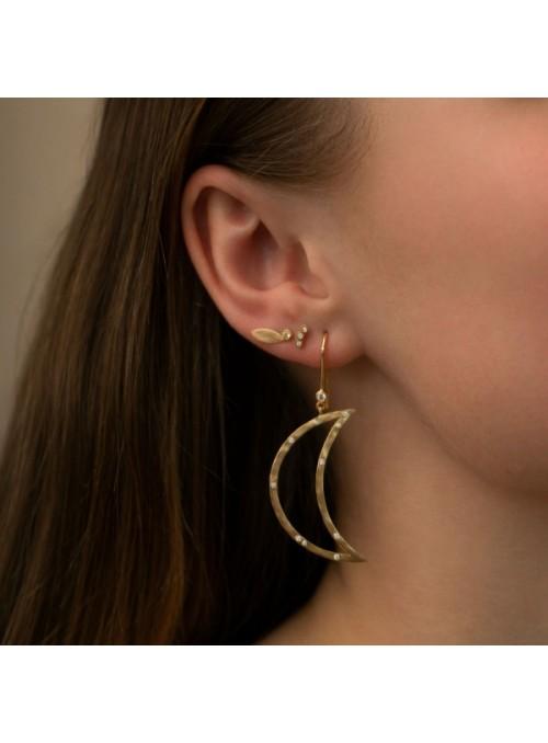 Stine A Big dot leaf earring light peridot gold