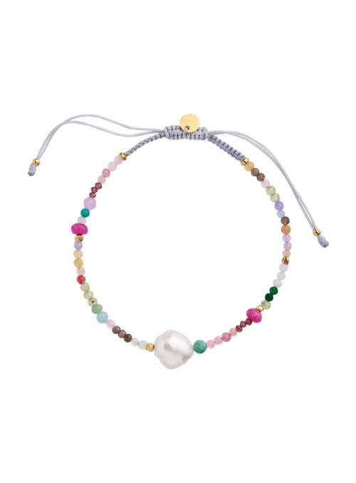 Stine A Color crush bracelet with multimix and light grey ribbon
