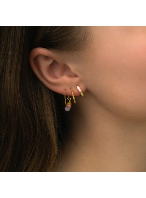 Stine A Petit circus huggie earring yellow and pink enamel gold