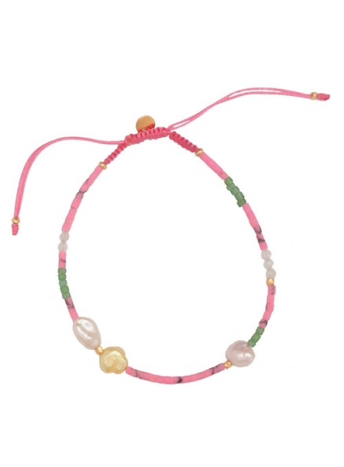 Stine A Deep sea bracelet with fresh pink and dusty green stones and pink ribbon